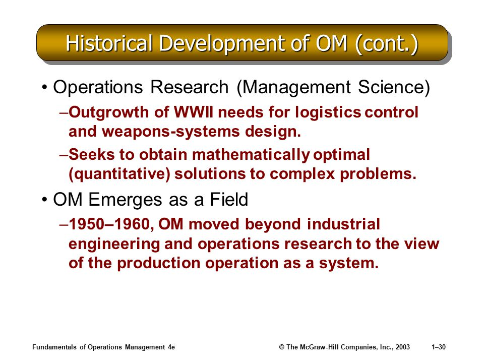 Historical Development of OM (cont.)