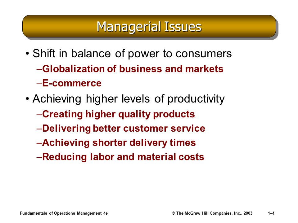 Managerial Issues Shift in balance of power to consumers