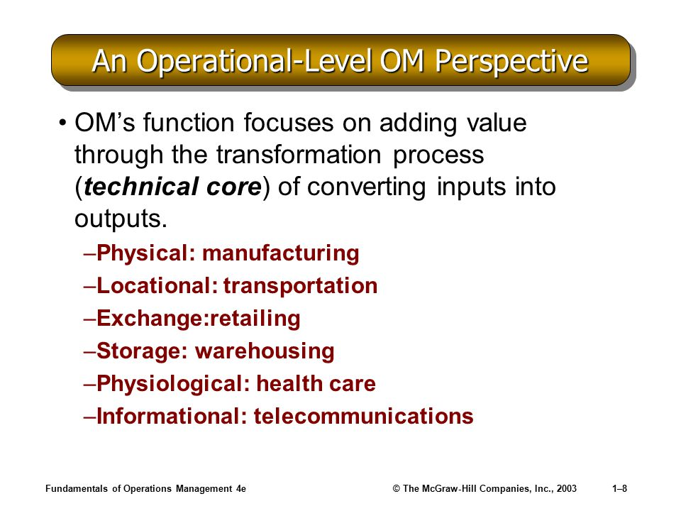 An Operational-Level OM Perspective