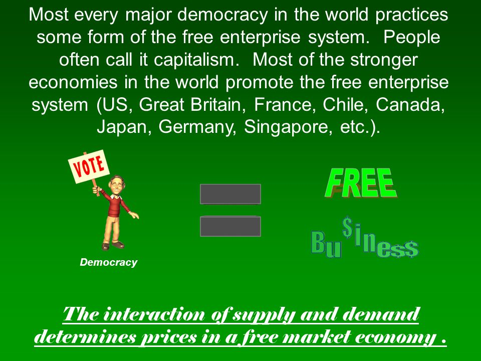 Most every major democracy in the world practices some form of the free enterprise system. People often call it capitalism. Most of the stronger economies in the world promote the free enterprise system (US, Great Britain, France, Chile, Canada, Japan, Germany, Singapore, etc.).