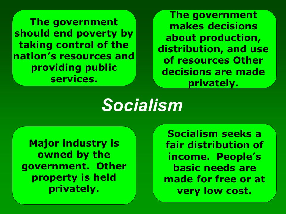 The government makes decisions about production, distribution, and use of resources Other decisions are made privately.