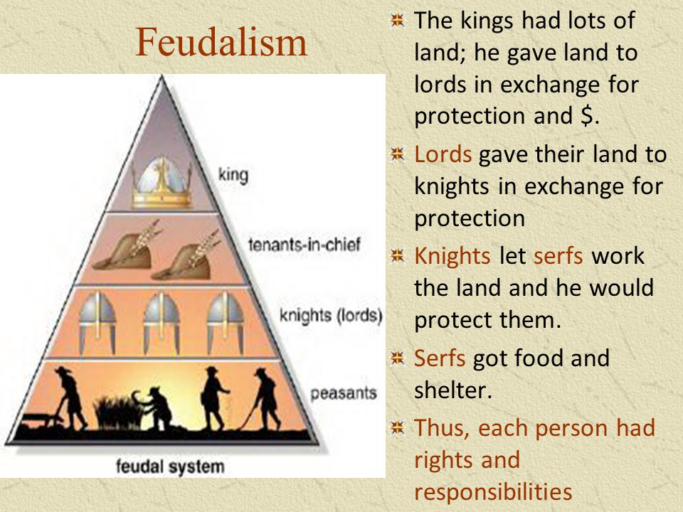 Feudalism The kings had lots of land; he gave land to lords in exchange for protection and $.