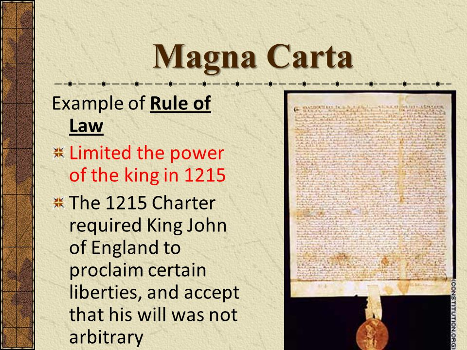 Magna Carta Example of Rule of Law