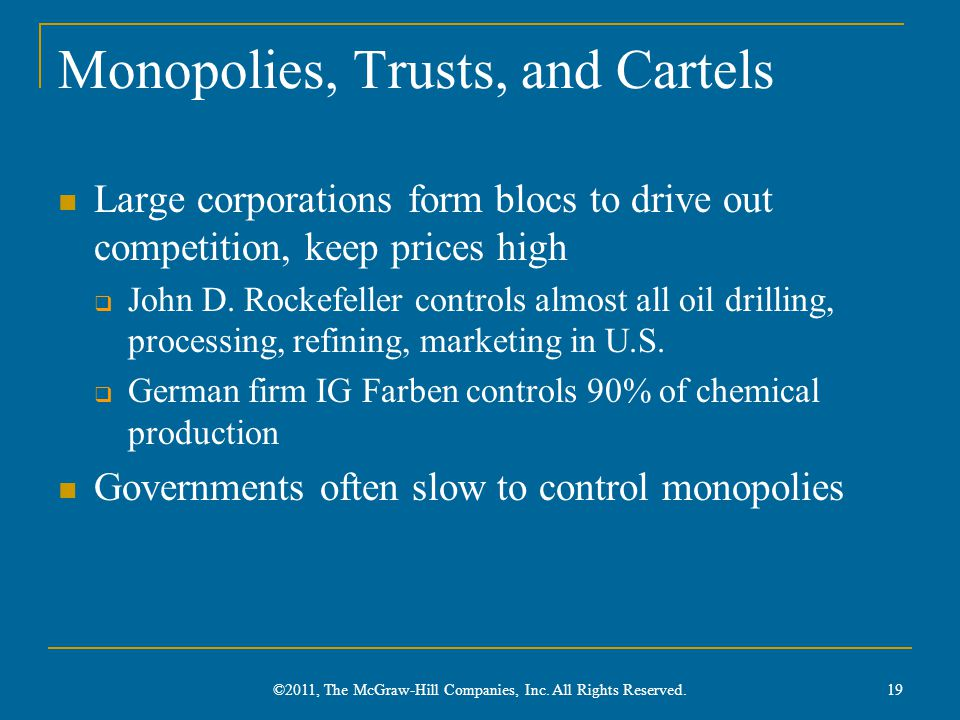 Monopolies, Trusts, and Cartels