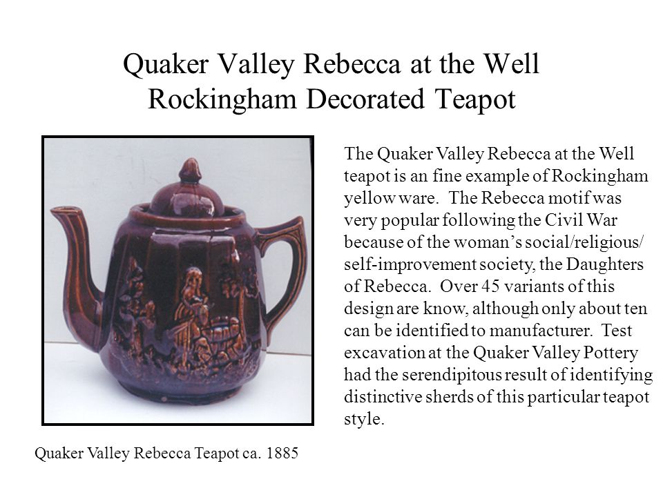 Quaker Valley Rebecca at the Well Rockingham Decorated Teapot