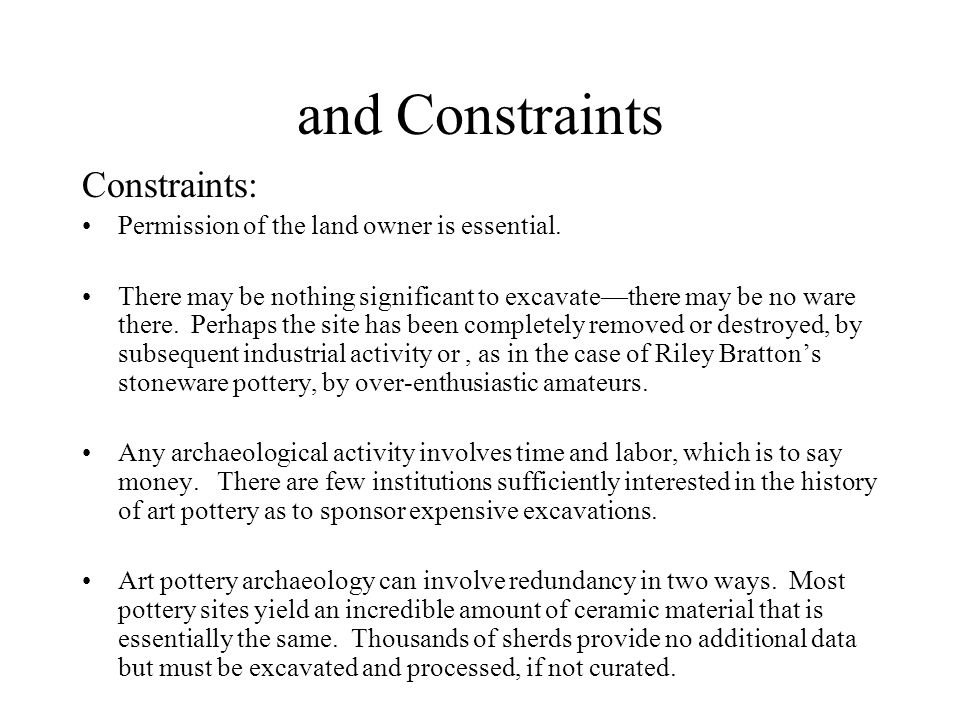 and Constraints Constraints: