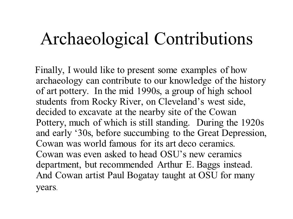 Archaeological Contributions