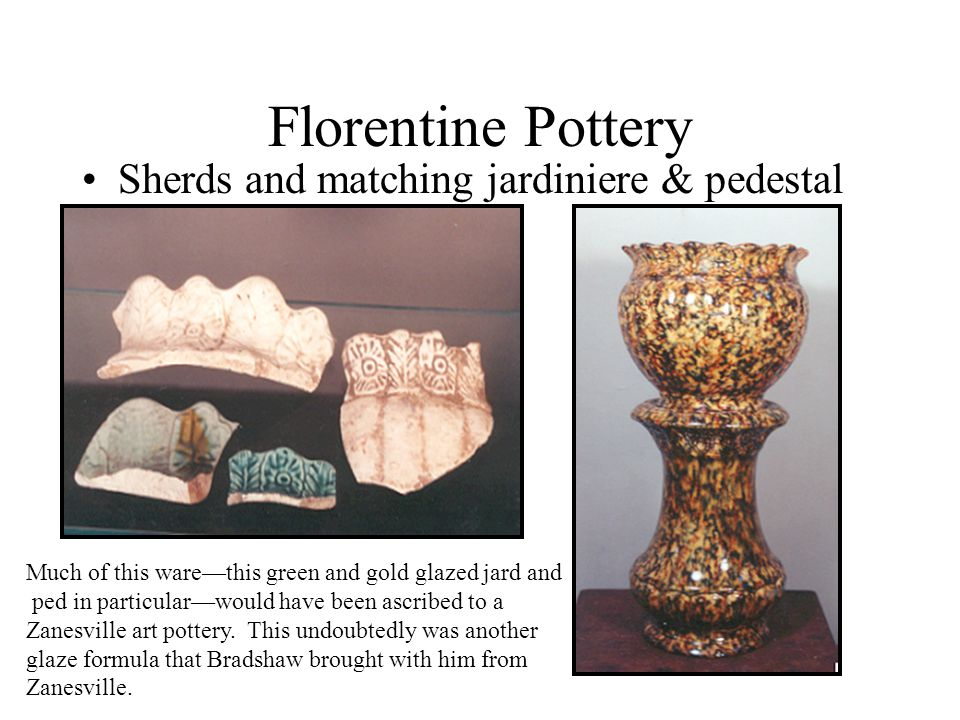 Florentine Pottery Sherds and matching jardiniere & pedestal
