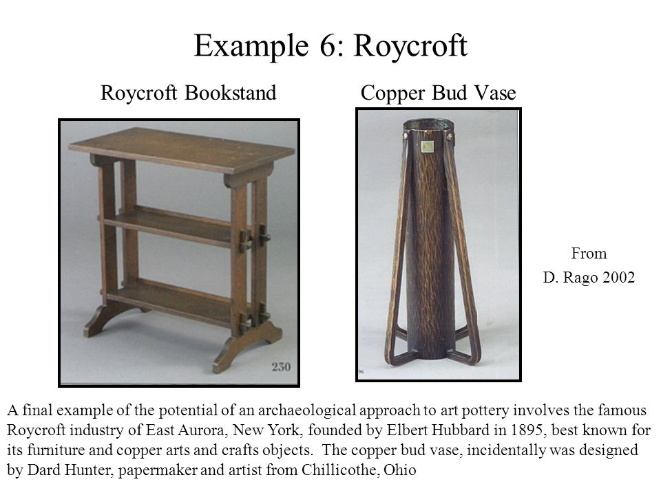 Example 6: Roycroft Roycroft Bookstand Copper Bud Vase From