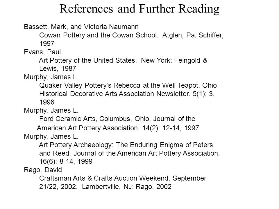 References and Further Reading