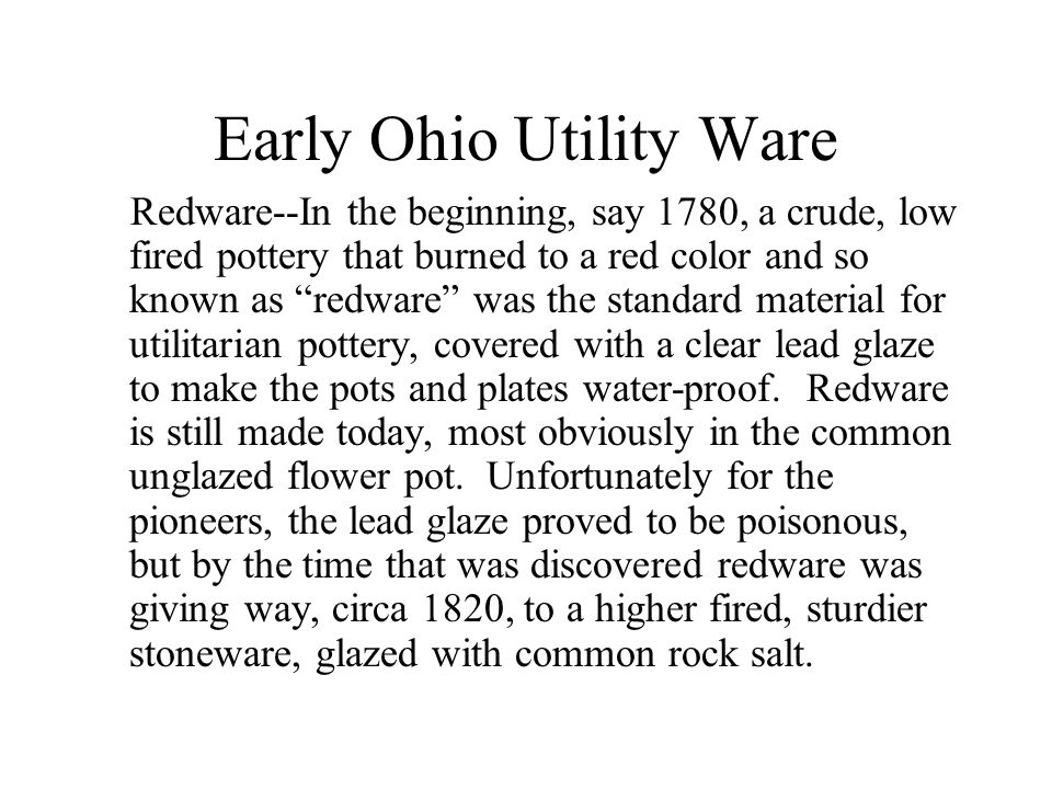 Early Ohio Utility Ware