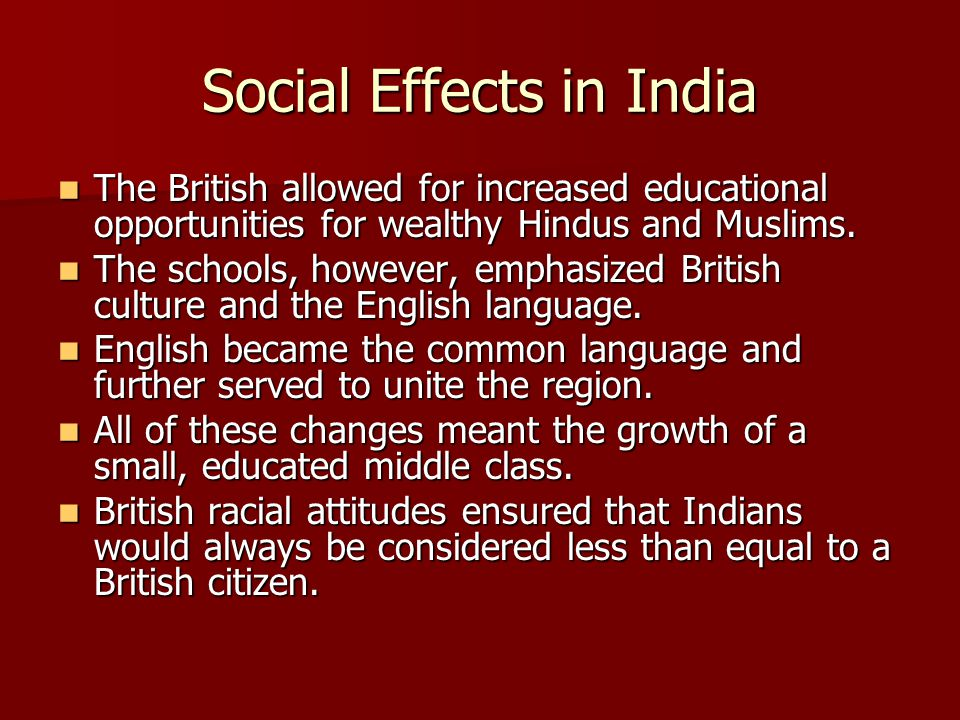 Social Effects in India