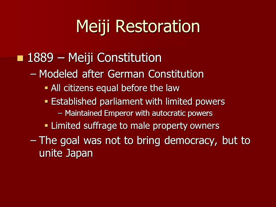 Meiji Restoration 1889 – Meiji Constitution