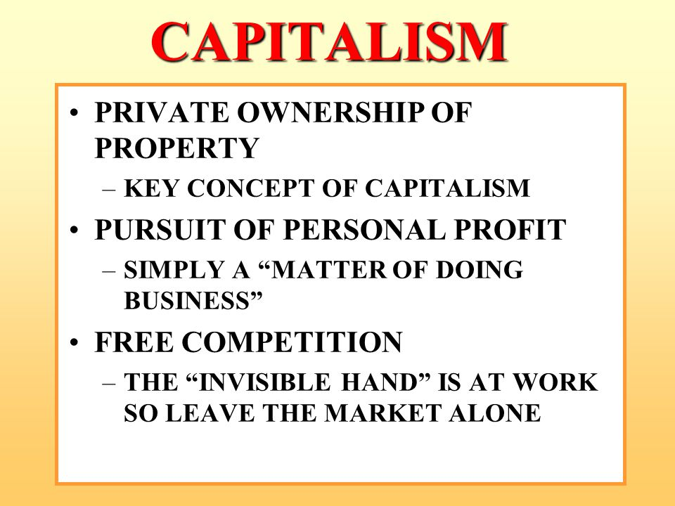 CAPITALISM PRIVATE OWNERSHIP OF PROPERTY PURSUIT OF PERSONAL PROFIT
