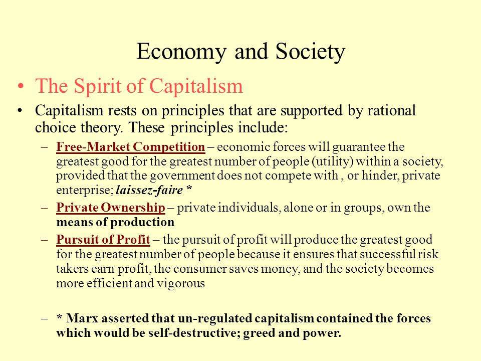 Economy and Society The Spirit of Capitalism