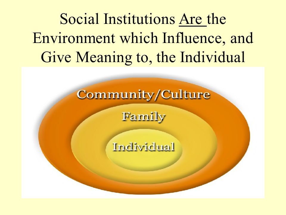 Social Institutions Are the Environment which Influence, and Give Meaning to, the Individual