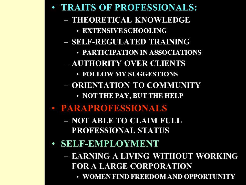TRAITS OF PROFESSIONALS: