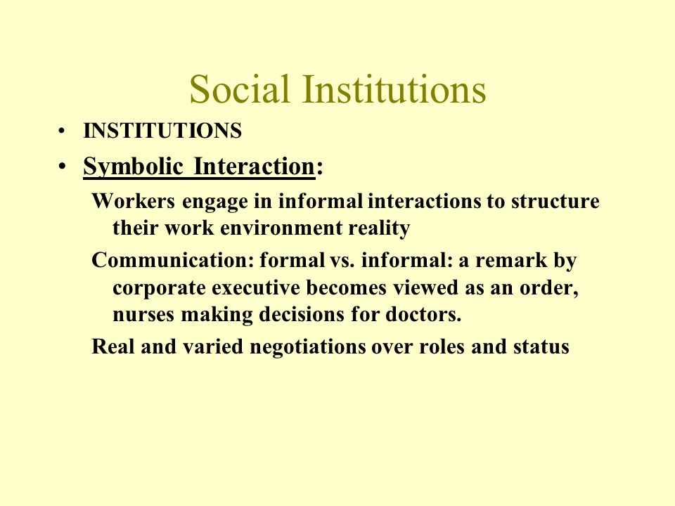 Social Institutions Symbolic Interaction: INSTITUTIONS