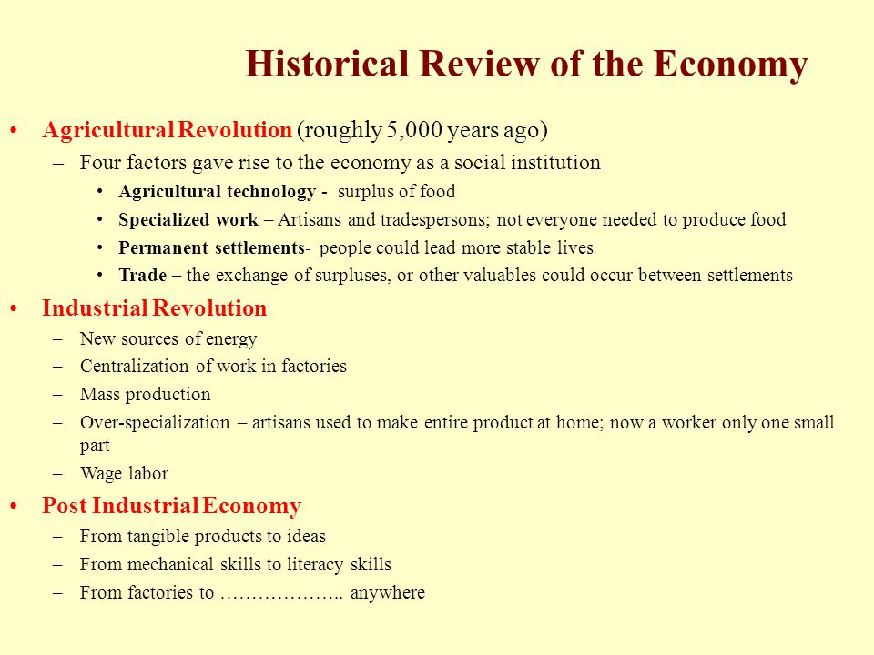 Historical Review of the Economy