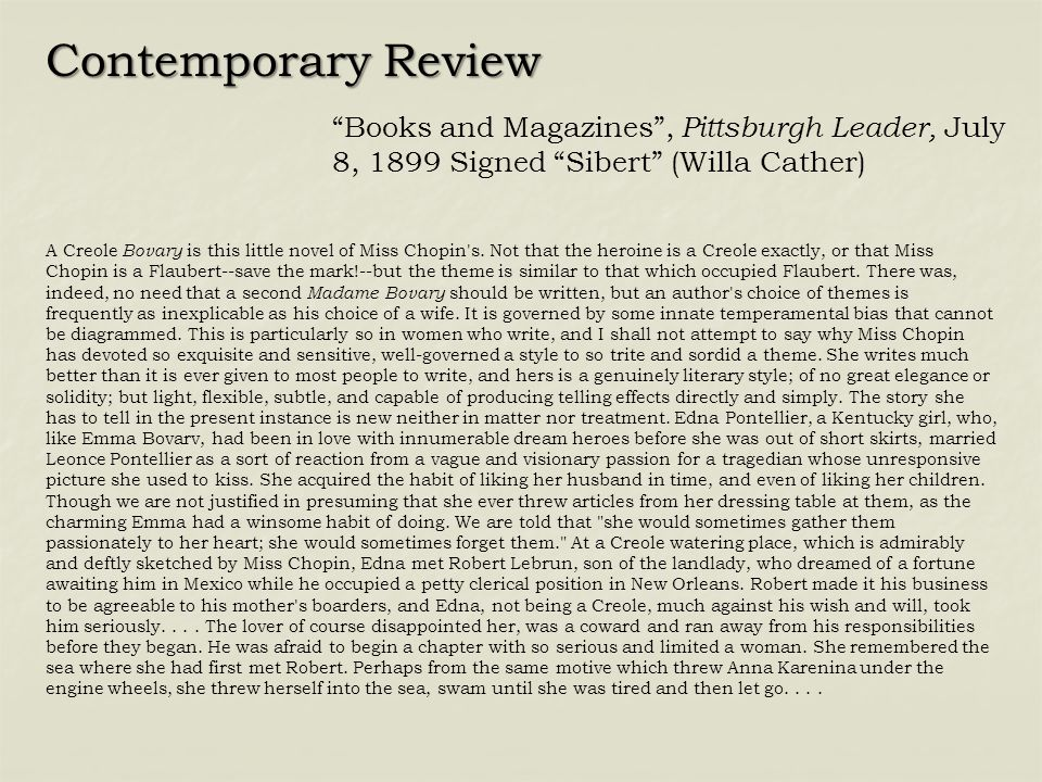 Contemporary Review Books and Magazines , Pittsburgh Leader, July 8, 1899 Signed Sibert (Willa Cather)