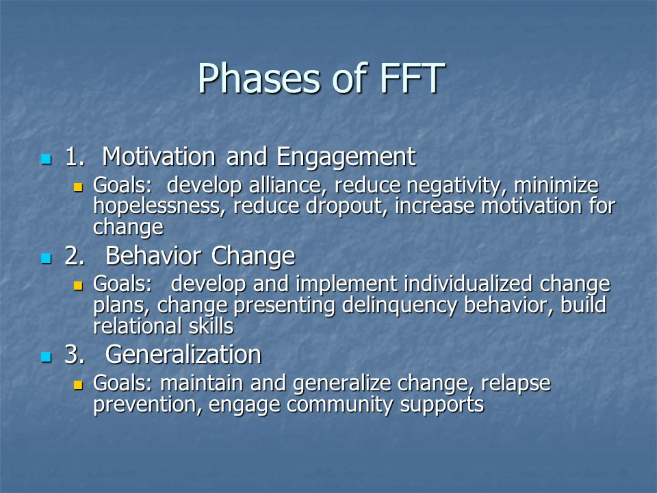 Phases of FFT 1. Motivation and Engagement 2. Behavior Change