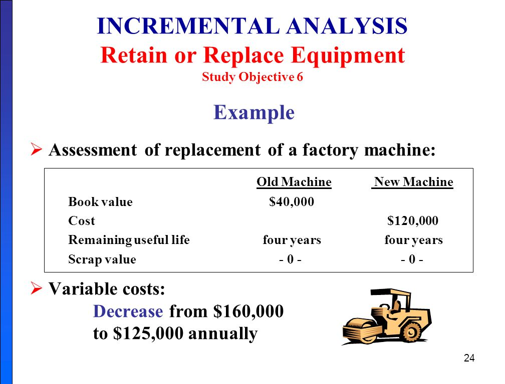 INCREMENTAL ANALYSIS Retain or Replace Equipment Study Objective 6