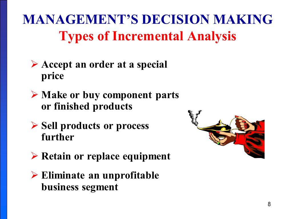 MANAGEMENT'S DECISION MAKING Types of Incremental Analysis