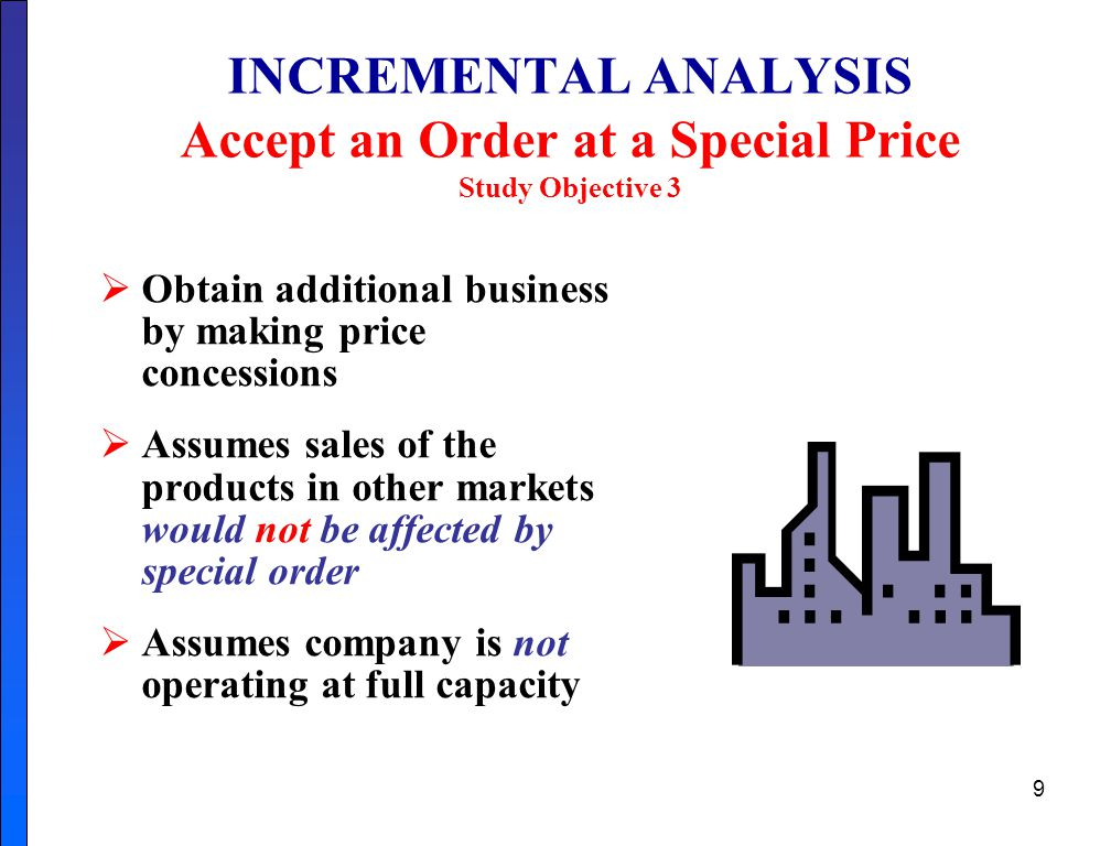 INCREMENTAL ANALYSIS Accept an Order at a Special Price Study Objective 3