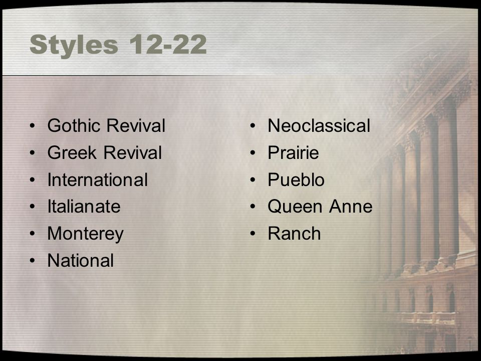 Styles 12-22 Gothic Revival Greek Revival International Italianate