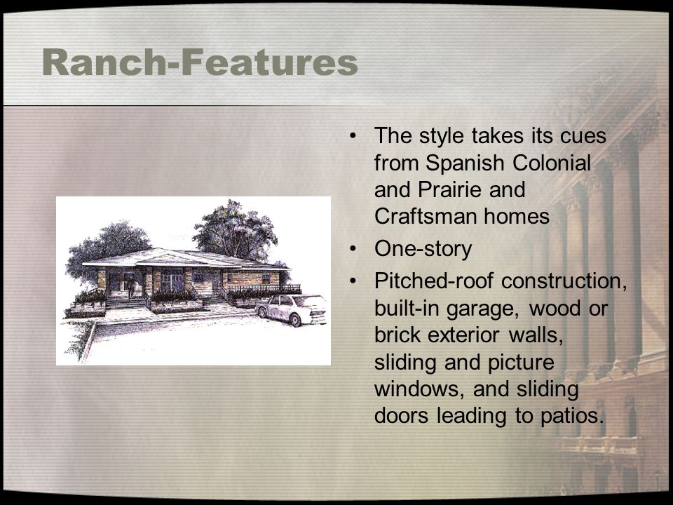 Ranch-Features The style takes its cues from Spanish Colonial and Prairie and Craftsman homes. One-story.