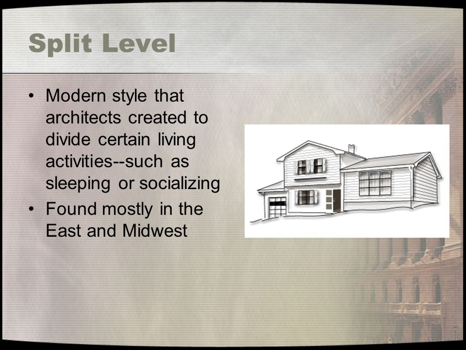 Split Level Modern style that architects created to divide certain living activities--such as sleeping or socializing.