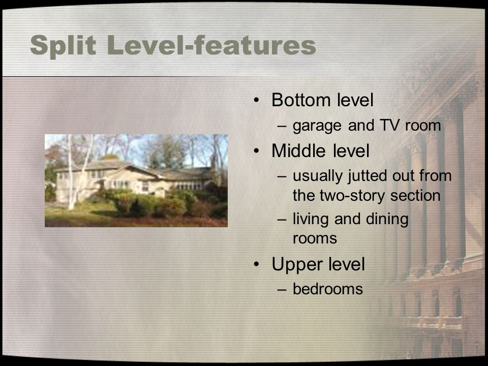 Split Level-features Bottom level Middle level Upper level