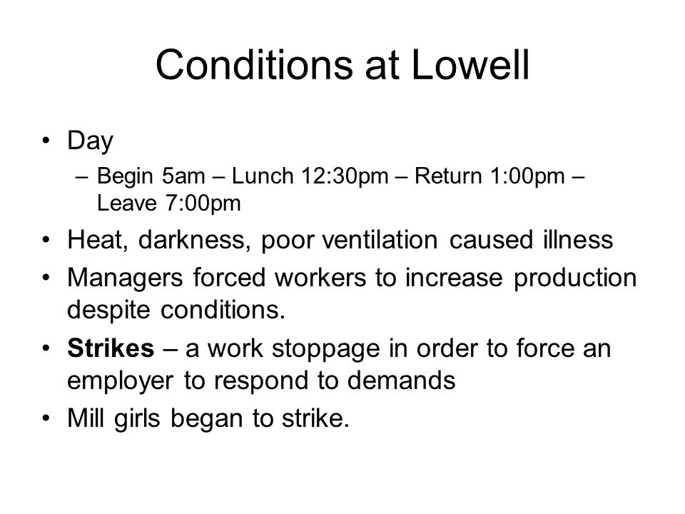 Conditions at Lowell Day