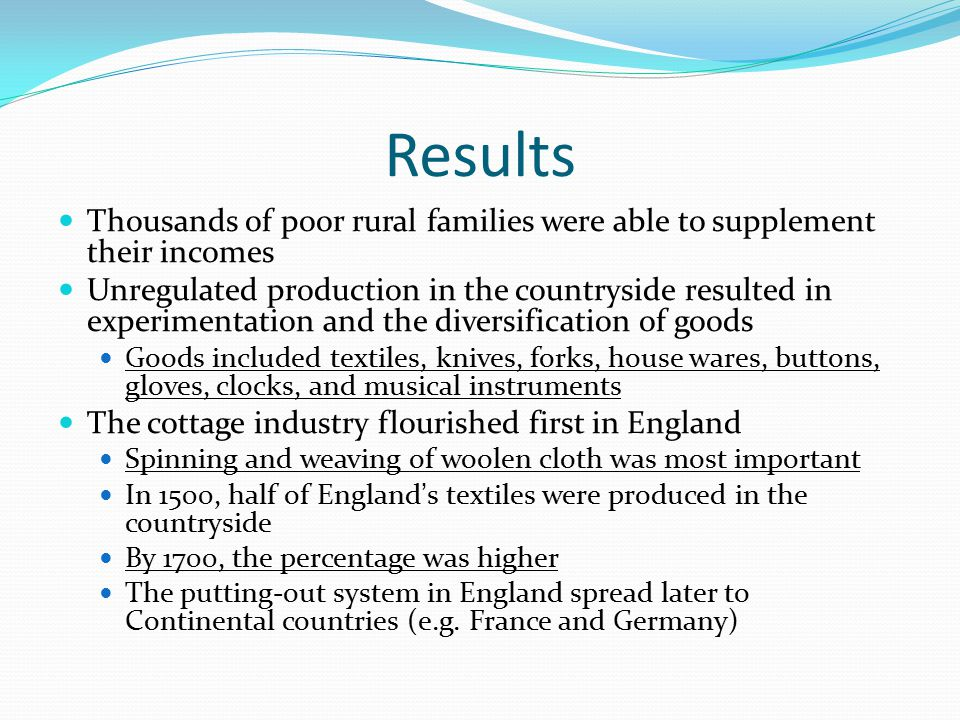 Results Thousands of poor rural families were able to supplement their incomes.
