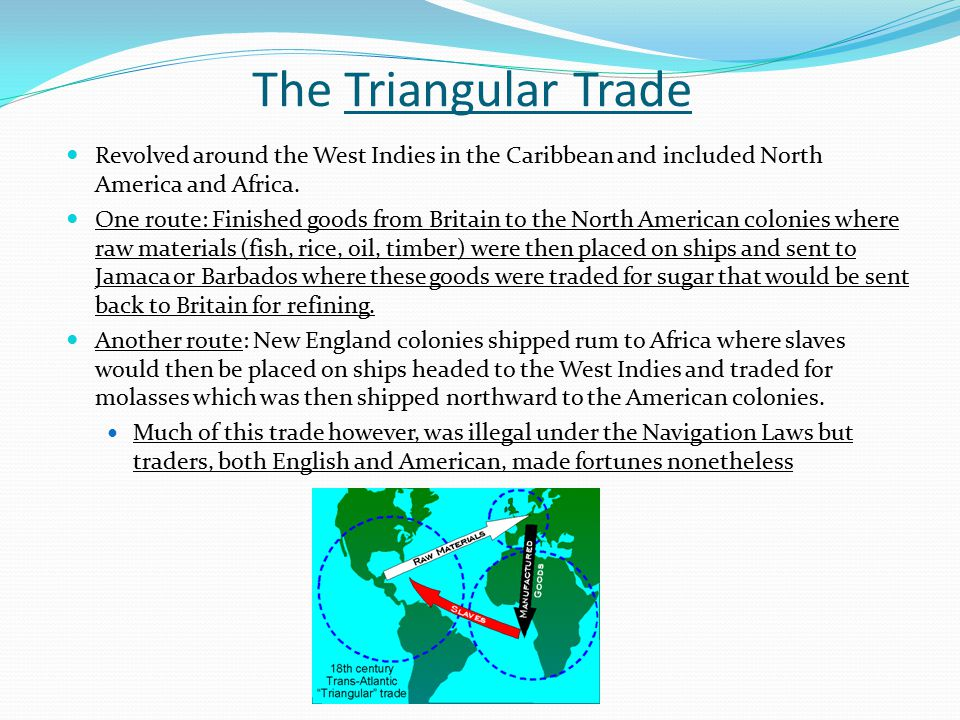 The Triangular Trade Revolved around the West Indies in the Caribbean and included North America and Africa.