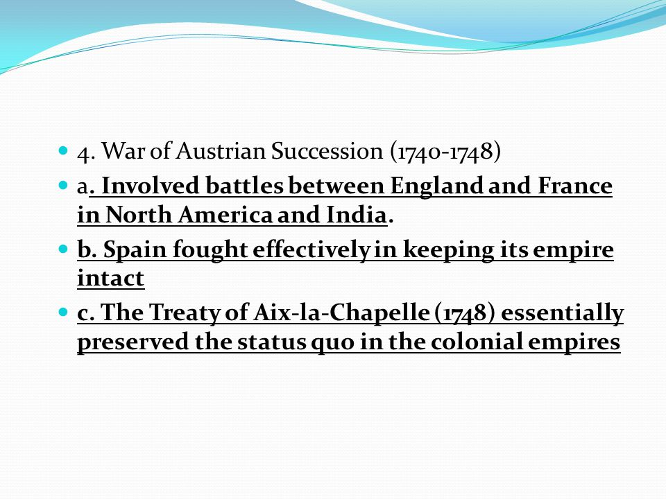 4. War of Austrian Succession (1740-1748)
