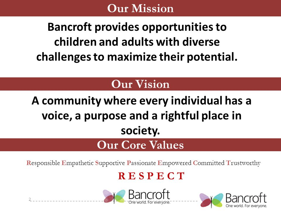 Our Mission Bancroft provides opportunities to children and adults with diverse challenges to maximize their potential.