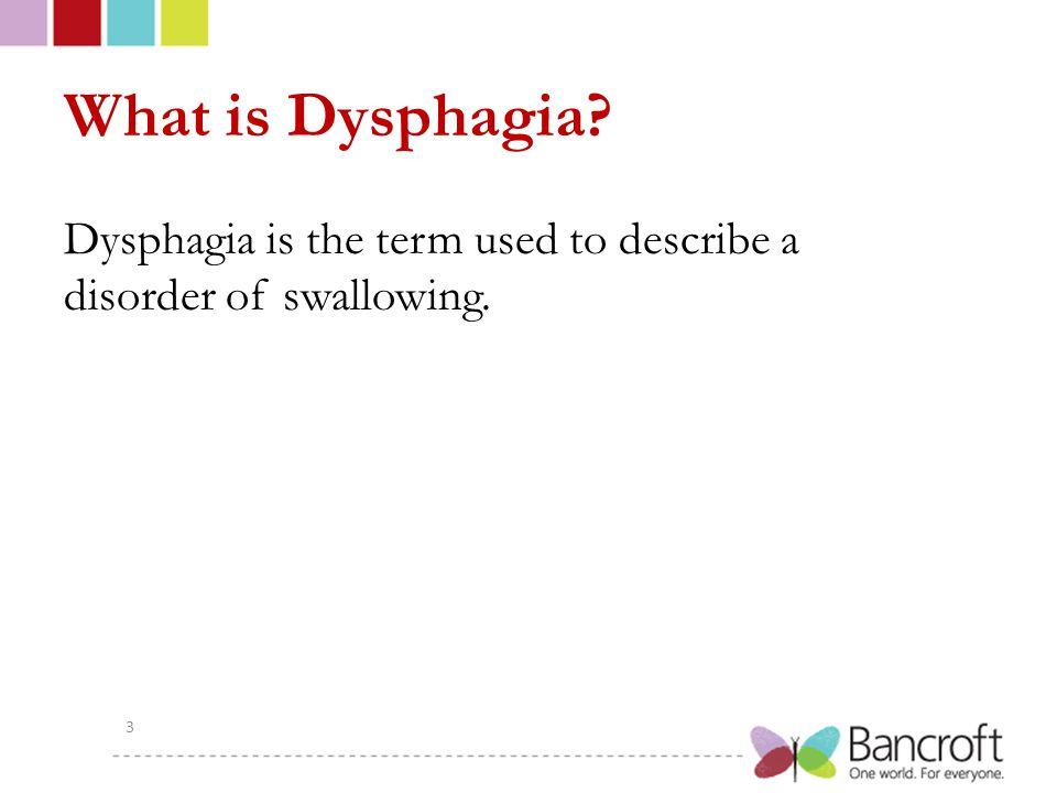 What is Dysphagia Dysphagia is the term used to describe a disorder of swallowing.