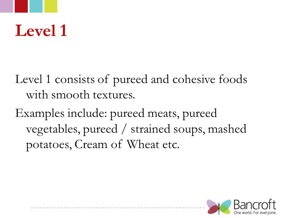 Level 1 Level 1 consists of pureed and cohesive foods with smooth textures.