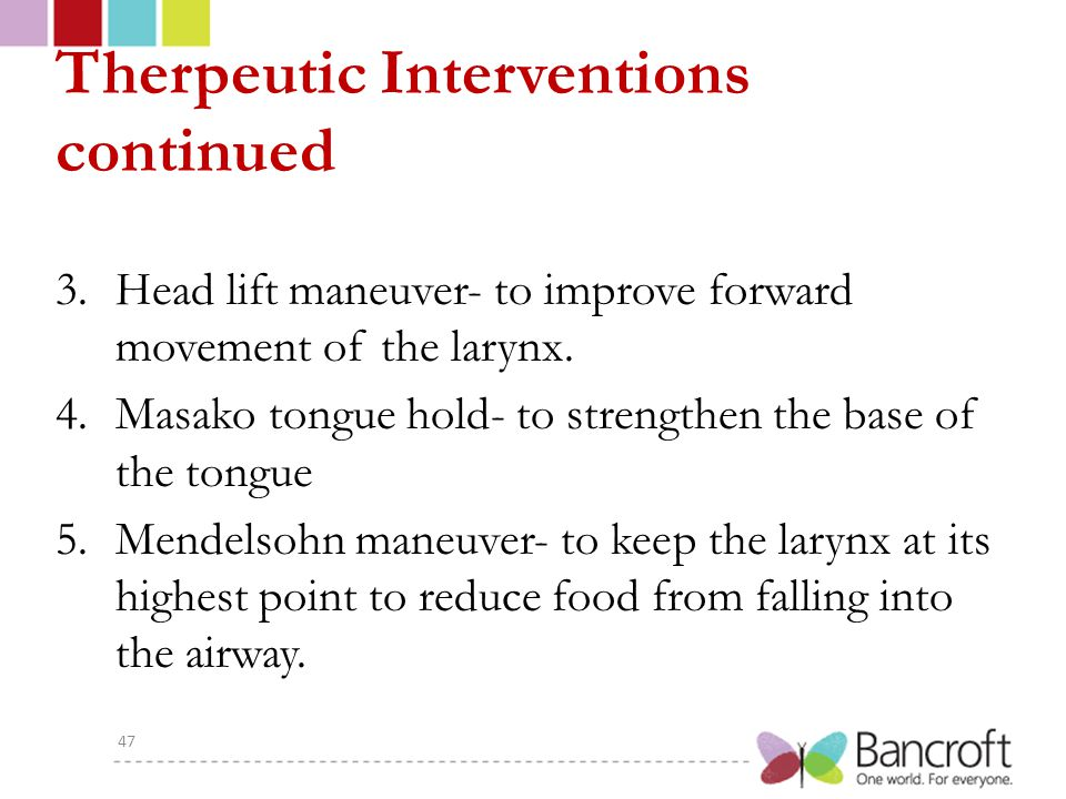 Therpeutic Interventions continued