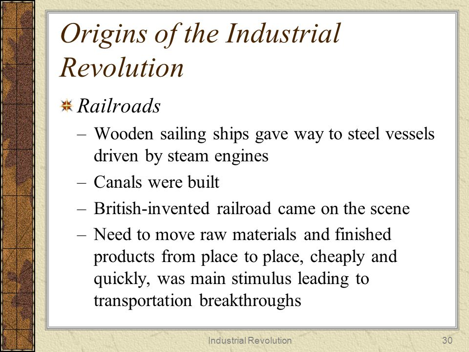 Origins of the Industrial Revolution