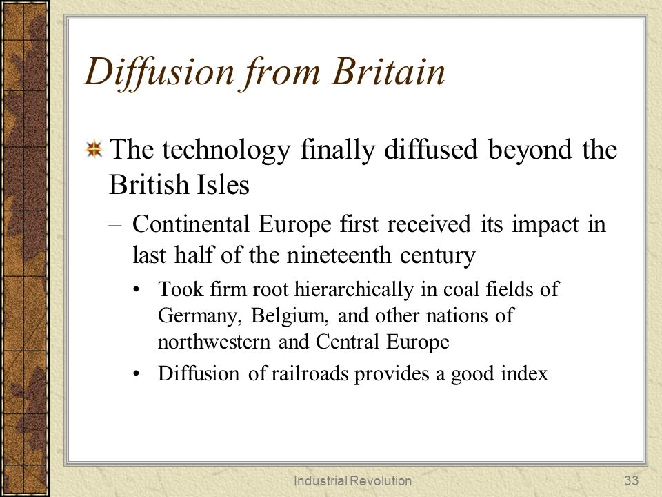 Diffusion from Britain