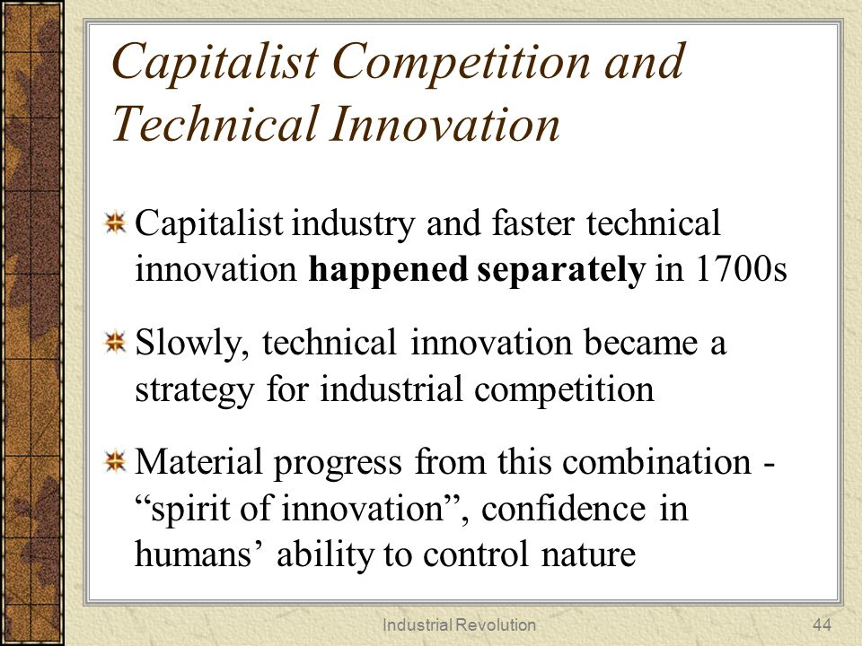 Capitalist Competition and Technical Innovation