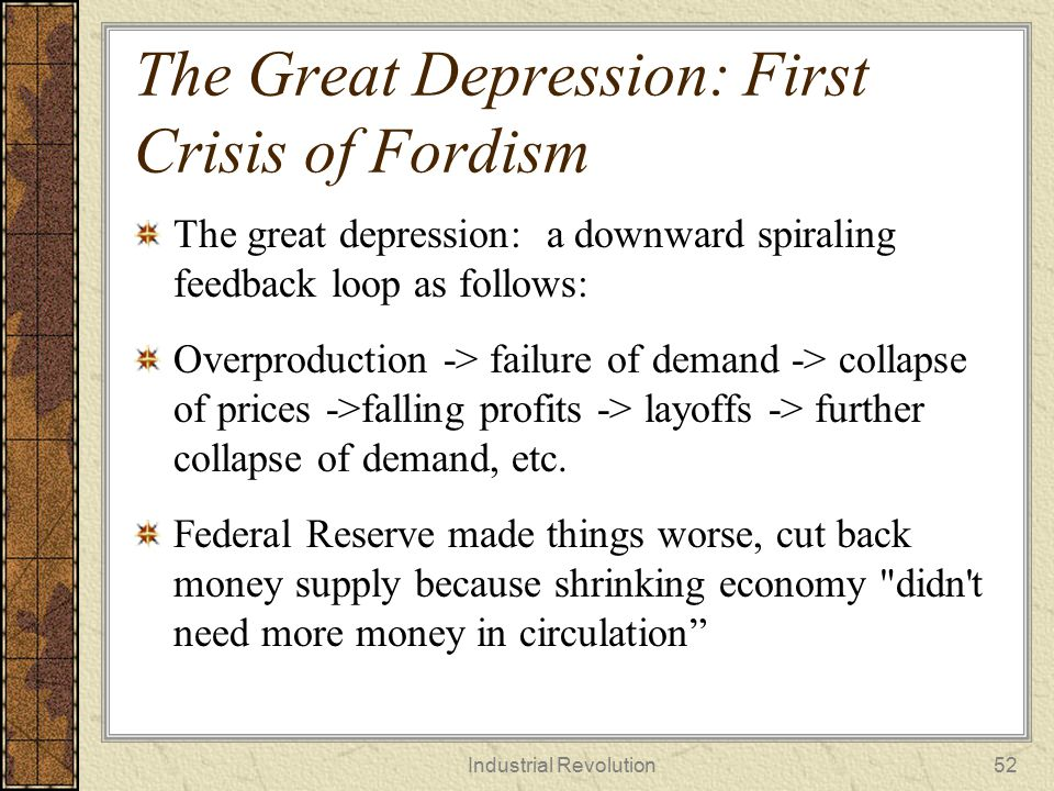The Great Depression: First Crisis of Fordism