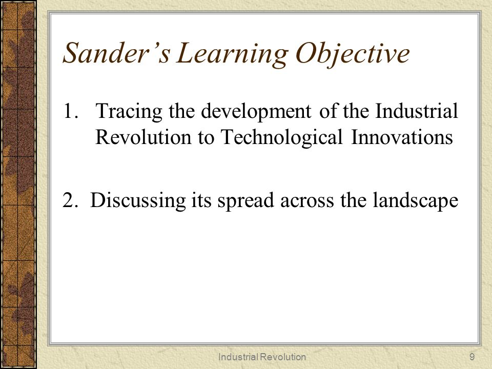 Sander's Learning Objective