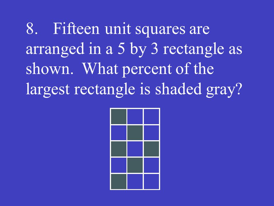 8. Fifteen unit squares are arranged in a 5 by 3 rectangle as shown