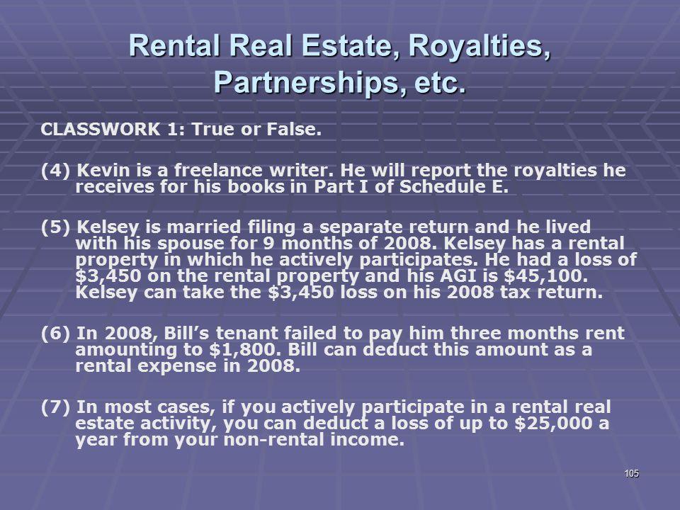 Rental Real Estate, Royalties, Partnerships, etc.