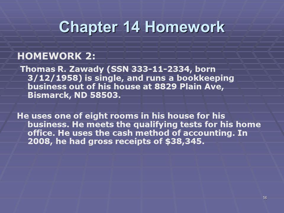 Chapter 14 Homework HOMEWORK 2: