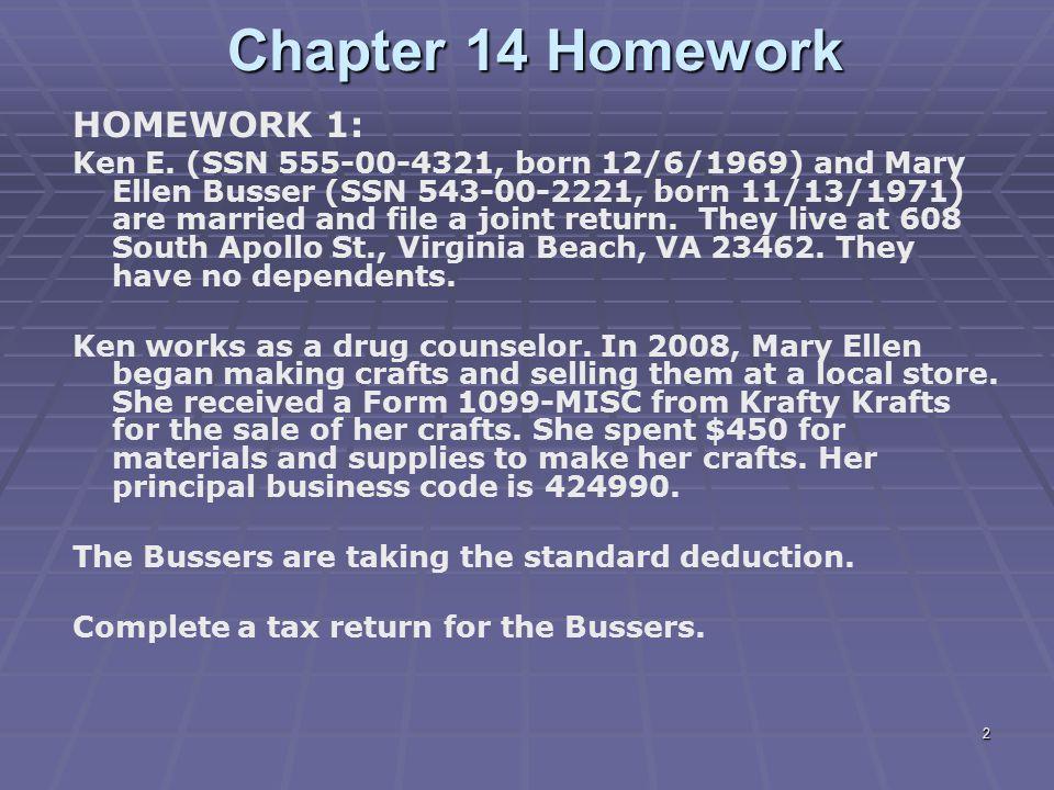 Chapter 14 Homework HOMEWORK 1: