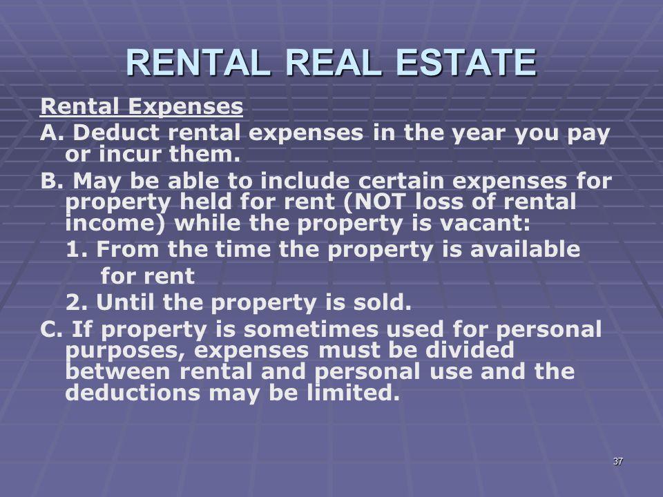 RENTAL REAL ESTATE Rental Expenses